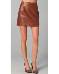 Vince | Brown Pleated Lambskin Leather Mini Skirt | Lyst