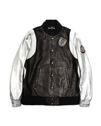 Balmain - Black Metallic Sleeve Leather Varsity Jacket - Lyst