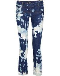 Balmain | Blue Midrise Splatterprint Straightleg Jeans | Lyst