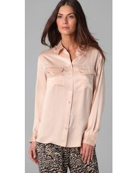 Equipment | Pink Signature Satin Blouse | Lyst
