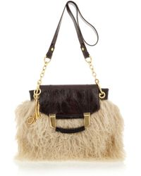 MILLY - Natural Kiki Shearling and Patent-leather Bag - Lyst