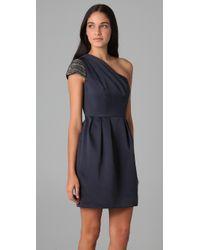 Shoshanna | Gray Starry Night One Shoulder Dress | Lyst
