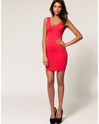 ASOS Collection - Black Asos Bodycon Dress with Scallop Detail - Lyst