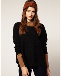 ASOS | Black Cable Jumper With Slash Neck | Lyst