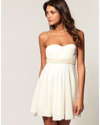 ASOS Collection - Natural Asos Mesh Bandeau Dress with Pearl Waist Trim - Lyst