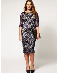 ASOS Collection | Blue Asos Curve Exclusive Midi Dress in Lace | Lyst