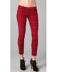 Current/Elliott | Red The Printed Plaid Stiletto Jeans | Lyst