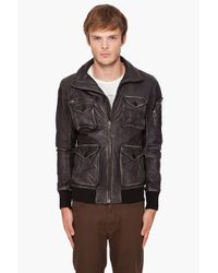 DIESEL | Black Lecord Leather Jacket for Men | Lyst