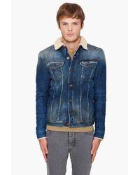 DIESEL | Blue Faux Fur-lined Denim Jacket for Men | Lyst