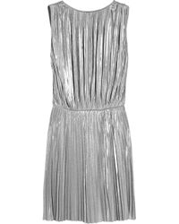 Halston | Metallic Pleated Lamé Mini Dress | Lyst