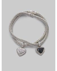 John Hardy | Metallic Black Sapphire & Sterling Silver Small Heart Charm Bracelet | Lyst