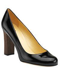kate spade new york - Kami - Black Patent Block Heel Pump - Lyst