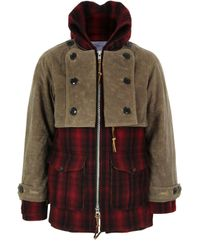 Monitaly | Natural Double Mackinaw Red & Black Plaid Wool Coat for Men | Lyst