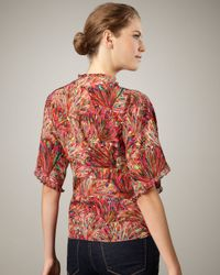 Nanette Lepore - Multicolor Aroma Printed Wrap Top - Lyst