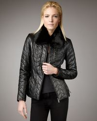 Neiman Marcus | Black Fur-collar Quilted Jacket | Lyst