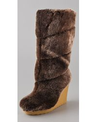 Tory Burch | Brown Kiki Wedge Boots | Lyst