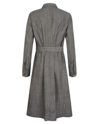 MHL by Margaret Howell - Gray Grey Tuck-back Shirt Dress - Lyst