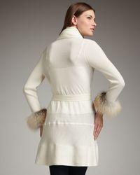 Neiman Marcus - White Fur-cuff Cashmere Cardigan - Lyst