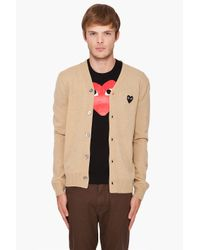 Play Comme des Garçons - Natural Lambswool Cardigan for Men - Lyst