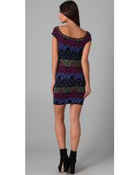 Torn By Ronny Kobo | Blue Andy Native Off The Shoulder Dress | Lyst