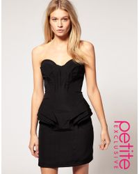 ASOS Collection | Black Asos Petite Exclusive Bandeau Dress with Fold Detail | Lyst