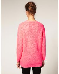 ASOS Collection - Pink Asos Bright Oversized Jumper - Lyst