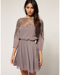 ASOS Collection - Gray Asos Dress with Lace Top - Lyst