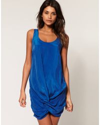 ASOS Collection | Blue Asos Mini Dress with Cupro Twist Front | Lyst