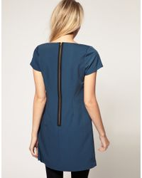ASOS Collection | Blue Asos Petite Exclusive Shift Dress with Exposed Zip | Lyst