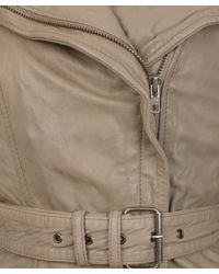 Muubaa - Gray Stone Yarrow Short Mac Leather Jacket - Lyst