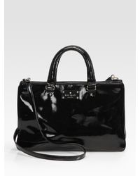 kate spade new york | Black Brette Leopard-print Patent Leather Tote Bag | Lyst