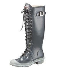 HUNTER | Metallic Gloss Lace-up Rain Boot | Lyst