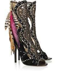 Jimmy Choo | Black Kevan Woven Leather and Suede Sandals | Lyst