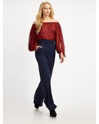 Saint Laurent   Red Off-the-shoulder Silk Blouse   Lyst