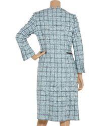 Carolina Herrera | Blue Plaid Cotton-blend Coat | Lyst