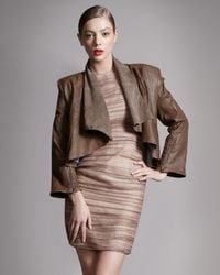Alice + Olivia | Brown Alex Draped Leather Jacket | Lyst