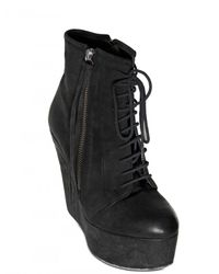 BB Bruno Bordese | Black 130mm Matte Calf Lace Up Wedges | Lyst