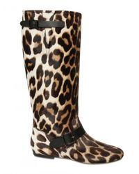 Blumarine | Multicolor Leopard Printed Pony Flat Boots | Lyst