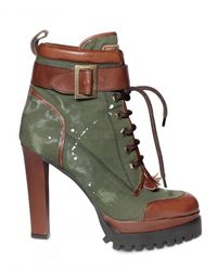 DSquared² | Green 130mm Washed Cotton Lace Up Low Boots | Lyst