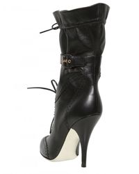 Francesco Scognamiglio - Black 100mm Perforated Calfskin Pointy Boots - Lyst