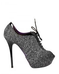 Grey Mer | Black 130mm Tweed Laced Peep Toe Low Boots | Lyst