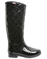 HUNTER | Black Quilted Rubber Boots | Lyst
