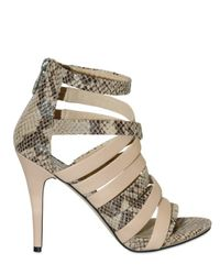 MICHAEL Michael Kors - Natural 100mm Python Print Leather Sandals - Lyst