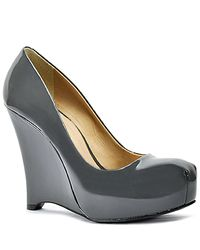 Pour La Victoire | Gray Ivonne - Grey Patent Leather Wedge Pump | Lyst