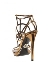Roberto Cavalli | Gold 130mm Swarovski and Metal Calfskin Sanda | Lyst
