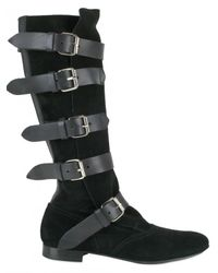 Vivienne Westwood | Black 20mm Suede and Calf Buckle Straps Boots | Lyst