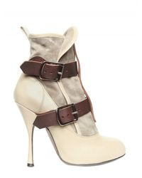 Vivienne Westwood | Natural 130mm Suede and Calf Buckle Low Boots | Lyst