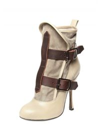 Vivienne Westwood | Gray 130mm Suede and Calf Buckle Low Boots | Lyst