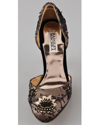 Badgley Mischka - Brown Stryker Lace Dorsay Pumps - Lyst