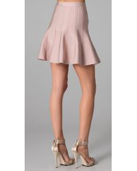 Hervé Léger | Pink Engineered Tubular Knit Skirt | Lyst